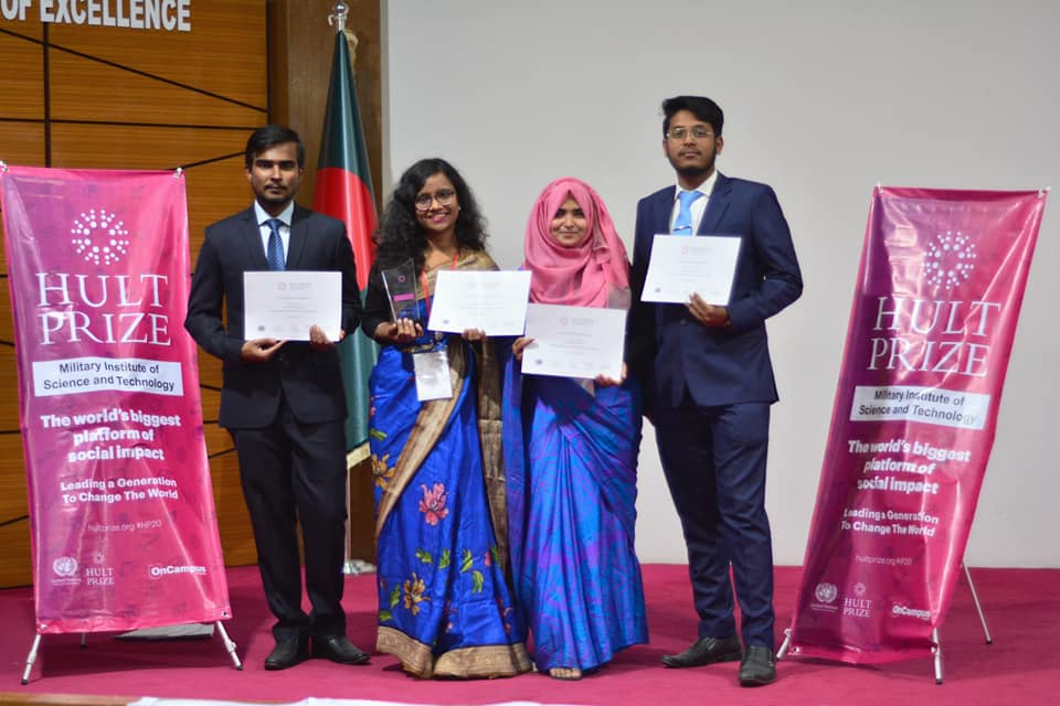 CHAMPION OF THE ON-CAMPUS ROUND OF HULT PRIZE, 2020